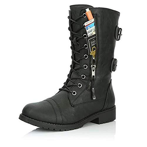 ZYXP Botas Cortas al Tobillo para Mujer, Botas Estilo Motero para Mujer, Bolsillo Exterior Zip Combate MilitarModa Invierno Mitad De La Pantorrilla BotasBlack-41