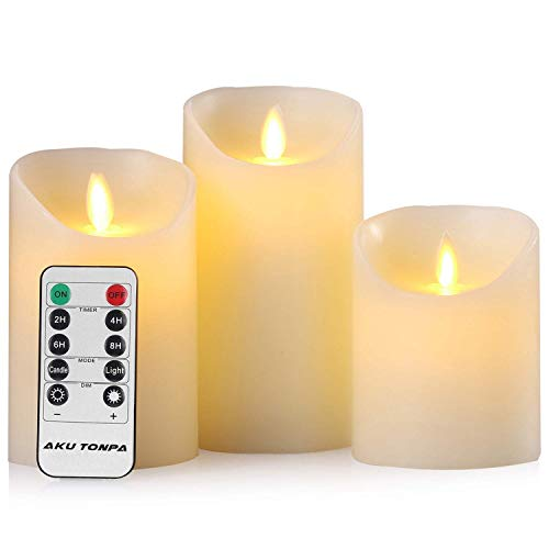 Aku Tonpa - Set di 3 candele a LED a forma di pilastro, in vera cera a batteria, senza fiamma tremolante, candele elettriche con Roma e timer