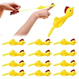 Meifen 20 Pcs Slingshot Chicken Stretchy Flying Chickens Flick Toy Rubber Chicken Toy Novelty Catapult Chicken Funny Finger Stretchable Chicken for Office Pranks Toys