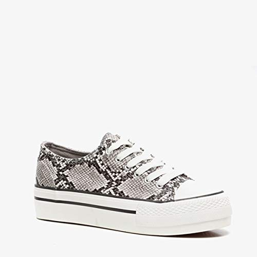 Blue Box dames sneakers met slangenprint - Grijs