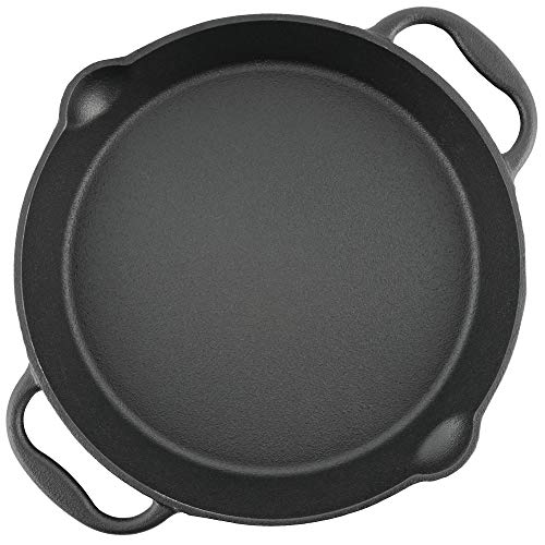 BBQ-Toro Gusseisen Grillpfanne I Gusspfanne mit Zwei Griffe und Zwei Ausgießer I Servierpfanne I Pfanne (Ø 25 cm)