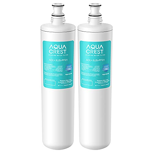 AQUACREST 3US-PF01 Under Sink Water Filter, NSF 42 Certified Replacement for Advanced 3US-PF01, 3US-MAX-F01H, 3US-PF01H, Delta RP78702, Manitowoc K-00337, K-00338 Water Filter (Pack of 2)