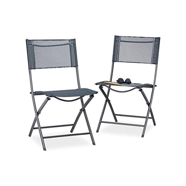 Relaxdays Klappstuhl Balkon 2er Set, Metall, Kunststoff, Gartenstuhl HBT: 87 x 55 x 48 cm, Balkonklappstuhl, anthrazit