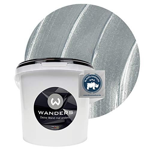 Wanders24 Metall-Optik (3 Liter, Silber) Effektfarbe, Wandfarbe, Metallic Wand, Glitzer Wandfarbe, Effekt Farbe, Wand Farbe, Wandfarbe Metallic, abwaschbar, Metall Effekt