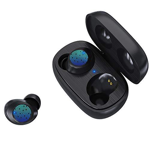 Bluetooth Kopfhörer, ZBC Kopfhörer Kabellose Bluetooth 5.0 Kopfhörer in Ear mit Mikrofon Touch-Control Noise Cancelling Stereo IPX5 Wasserdicht Headset für iPhone Android Samsung (Schwarz)