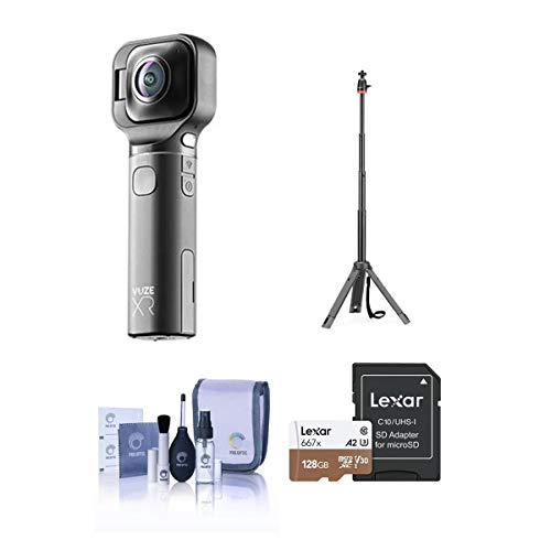Vuze Vuze XR Dual 3D 360 / 2D 180 VR Camera, Black - Bundle With 128GB Micro SDXC Card, JOBY TelePod 325, Cleaning Kit