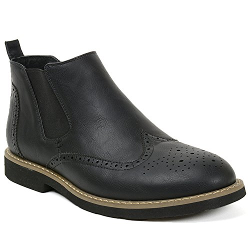 Alpine Swiss Bulle Mens Suede Lined Wing Tip Chelsea Ankle Boots Black 11 M US