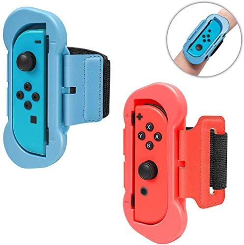 Correa de Muñeca Compatible con Joy-Con Nintendo Switch Just Dance 2020/2019, Banda de Muñeca Elástica Cómoda de 2 Tamaños Diferentes Ajustable para Adultos y Niños - Kit de 2pzs