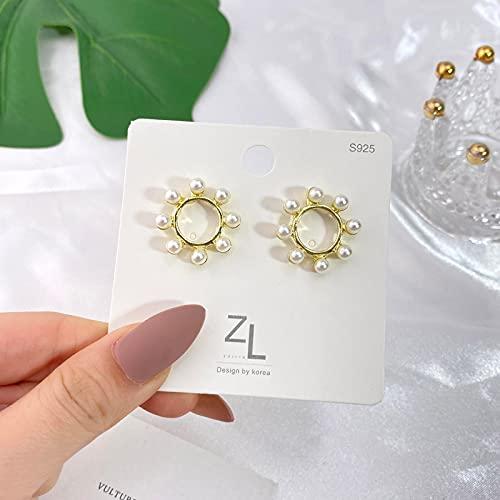 FEARRIN Pendientes Anillos de Moda Pendientes Colgantes de Perlas Blancas para Mujer Geometría Bohemia Pendientes de Boda de Perlas Redondas Regalo de la joyería H284-KK748