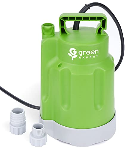Green Expert 203618 1/4HP Submersible Utility Pump High Flow 1600GPH for Quickly Water Removal Household Drainage Pump for Home Suit to Garden Hoses 25ft Long Cord Easy Installation