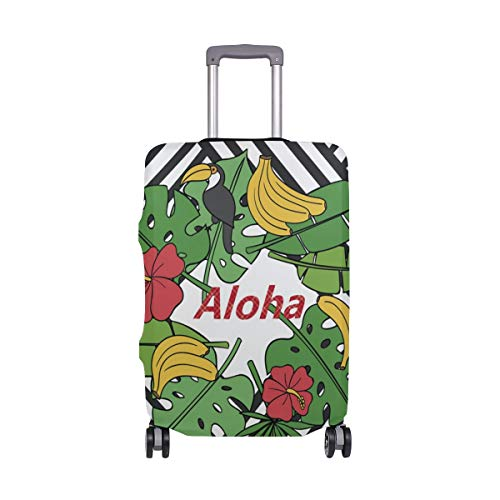 ALINLO Aloha Toucan Birds Banana Stripes Maleta Equipaje Equipaje Maleta Protector de Viaje Ajuste para 45-32 Pulgadas