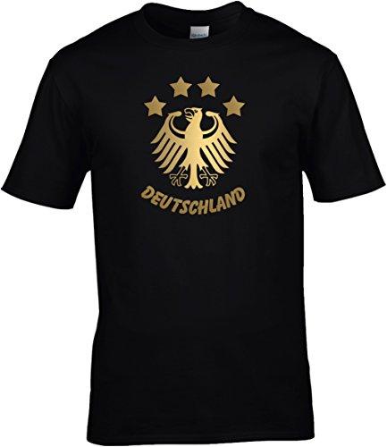 T-Shirt Herren WM Shirt Deutschland Fussball 4 Sterne und Bundesadler Deutschland Schriftzug Germany 2018, T-Shirt, Grösse XXXXL, schwarz