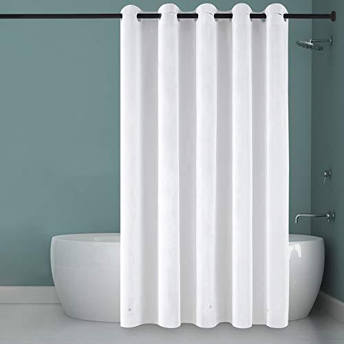 Furlinic Überlänger Duschvorhang Badvorhang PEVA Wasserdicht Anti-schimmel Wasserabweisend XL Duschvorhänge für Dusche & Badewanne Shower Curtains Hookless Weiß 180x240cm & Magnet.