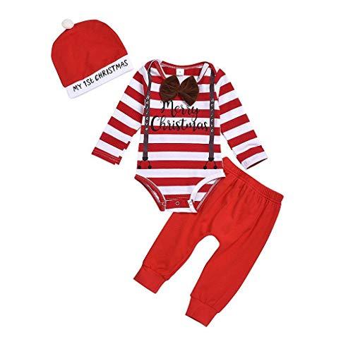 Jimmackey Natale Pagliaccetto Neonato Invernale Stampa A Strisce Tutina + Pantaloni + Cappello 3PCS Tuta Bimbo Set di Natale