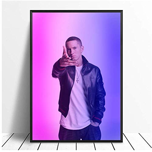 wzgsffs Eminem Singer Music Hip Hop Rap Star Painting Art Poster Print Canvas Decoración para el hogar Picture Wall Print Canvas Paintings-20X28 Inch Frameless