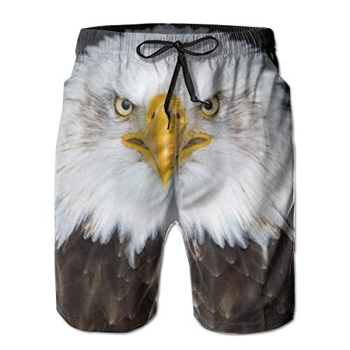 Pantalones Cortos de Playa para Hombre Troncos de natación Traje de baño de Secado rápido (Bald Eagle North America Bird), L