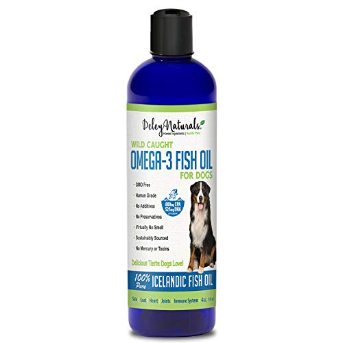 Wild Caught Fish Oil for Dogs - Omega 3-6-9, GMO Free - Reduces Shedding, Supports Skin, Coat, Joints, Heart, Brain, Immune System - Highest EPA & DHA Potency - Only Ingredient is Fish (4oz)