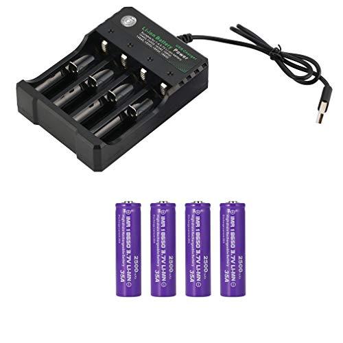 4PCS 3.7V 18650 2500mAh Capacidad Batería Recargable de Iones de Litio Con Cargador de Batería Seguro y Ecológico Adecuado para Herramienta de Linterna LED, Cámara Electrónica, Equipo de Micrófono