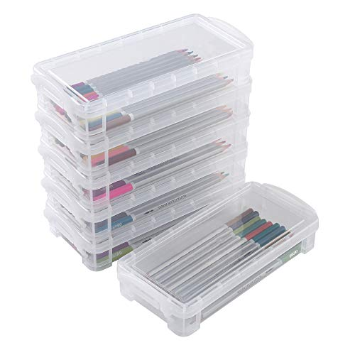 Stackable Large Pencil Case, 6 Pack Storage Box Container Desktop Organizer, Pencils Markers Crayons Pens Drawing Tools Boxes for Office School Home (Clear)