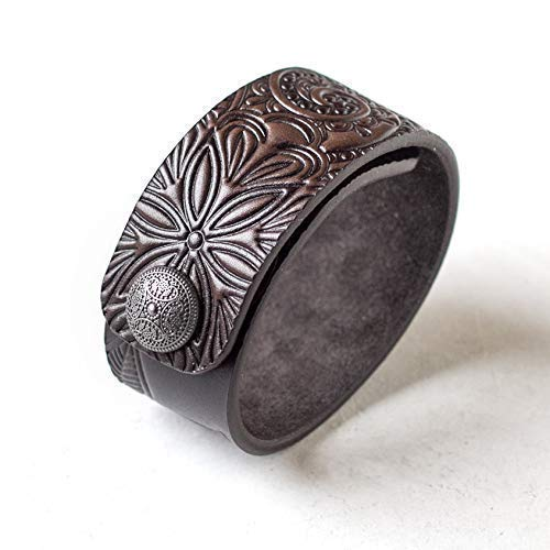 Brown Leather Bracelet for Women, Hand Painted, Embossed, Metal Snap, Wrist Size 6.0-7.25 inches