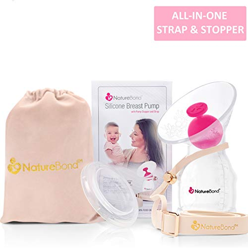 NatureBond Silicone Breastfeeding Manual Breast Pump Milk Saver Suction. All-in-1 Pump Strap, Stopper, Cover Lid, Carry Pouch, Air-Tight Vacuum Sealed