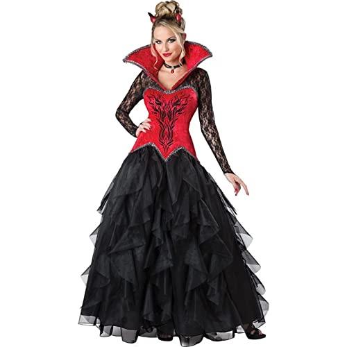 WFEI Disfraz de Halloween Sexy Vampiro Traje Mujeres Masquerade Fiesta Cosplay gtico Halloween Vestido Vampiro rol Jugar Ropa Bruja,Rojo,XL