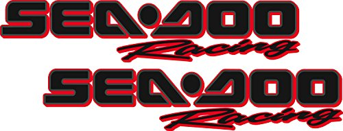 Sea-Doo Racing / PAIR / Black RED OUTLINE Vinyl Vehicle Personal Watercraft Graphics Decal Stickers