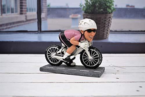 SMI Figura de Resina de Ciclista de Punto Rosa 16X 13H. Cm