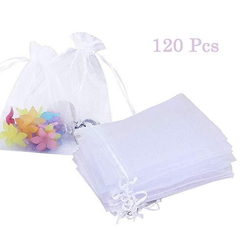 120 Piezas Blanco Con Cordón Bolsas Bolsitas de Organza de Boda,Caramelo Bolsas de Tul para Regalos Joyas Bodas (7 x 9cm)