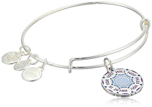 Alex and Ani Women's Words are Powerful What is for You Will Not Pass You Bangle Bracelet, Shiny Silver, Expandable