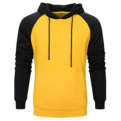 Men Pullover Men Hoodie Long Sleeve Comfortable Elegant Teen Men Men Sweatshirt Autumn New Kangaroo Pocket Drawstring Outdoor Sports Men Sweatshirt Men's Tops Yellow S