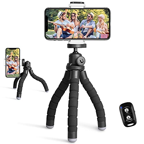 UBeesize Phone Tripod, Portable and Flexible Tripod with Wireless Remote and Universal Clip, Cell Phone Tripod Stand for Video Recording (Black)