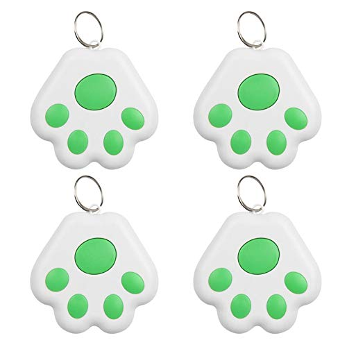 GPS Tracker for Kids Cat Dog Position, 4 Pack Portable Bluetooth Intelligent Finder Device, Wireless Bluetooth Tag Tracker Locator for Children Kids Pets Wallet, Smart Phone APP Control (Green)