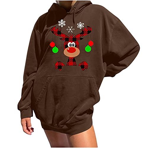 Christmas Sweatshirts Womens Hooded Pullover Pocket Tunic Christmas Elk Print Long Sleeve Blouse Trendy Tops Shirt Coffee
