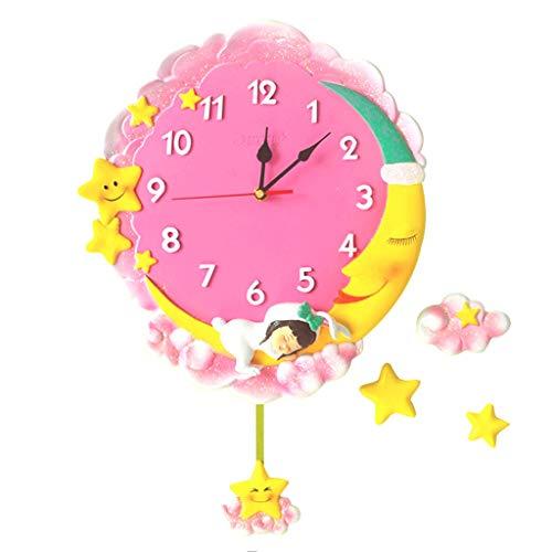 zxb-shop Reloj de Pared Luna Reloj de Pared de Silencio Dormitorio for niños Kinder habitación la decoración del hogar Elegante Reloj para Pared