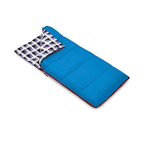 Outbound Kids Sleeping Bag | Compact and Lightweight Sleeping Bags for Girls and Boys | 3 Season, Warm and Cold Weather | Perfect for Youth, Camping and Backpacking | Red & Blue (Blue)