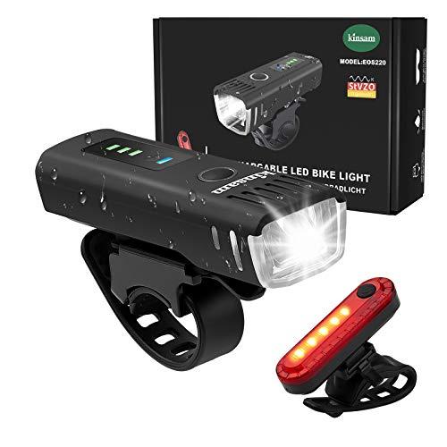 KINSAM Upgraded LED Fahrradlicht Set,USB Wiederaufladbare Fahrrad Licht Vorne Rücklicht,StVZO Zugelassen Fahradbeleuchtungsset LED,IPX-4 Wasserdicht Fahradbeleuchtungsset LED,Fahrrad Zubehör