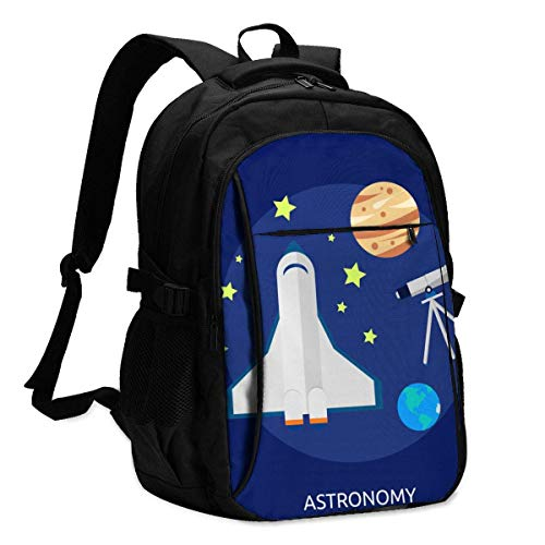 XCNGG Astronomy Telescope Rocket Explore Travel Laptop Backpack College School Bag Casual Daypack with USB Charging Port
