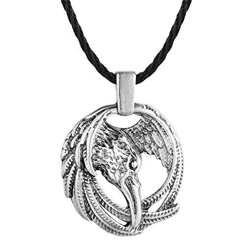 ShSnnwrl Collar Hombres Viking Helm of Awe Slavic Amulet Protection Rune Colgante Collar Mujeres Ronda Pagan Magic Odin Norse Joyería Regal