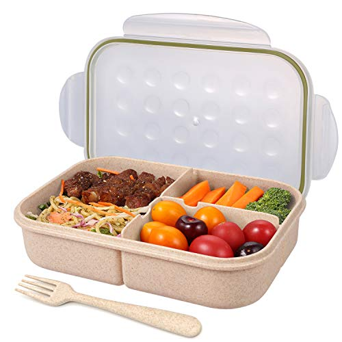 Bento Box for Adults Lunch Containers for Kids 3 Compartment Leak Proof...