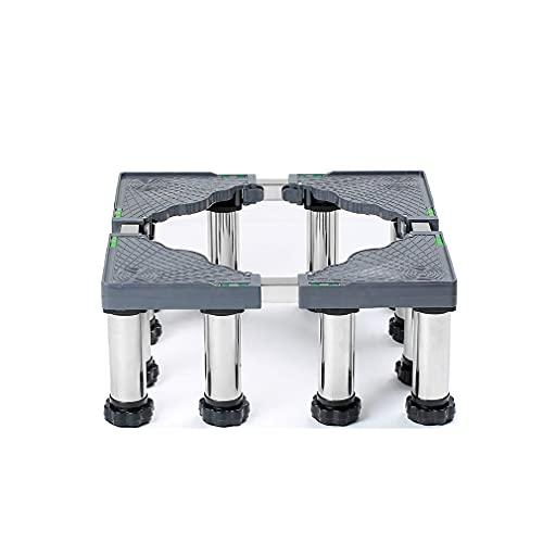 Base de Soporte para Lavadora Pedestal de refrigerador Ajustable Bandeja con Base de Rodillo 19-22cm Soporte para Lavadora de Ropa de Acero Inoxidable de Aumento para Muebles Cocinas Lavavajillas