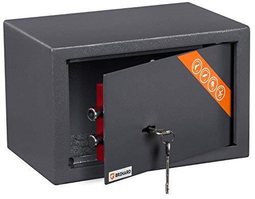 Brihard Home Tresor Safe mit Schlüssel-Schloss, 20x31x20cm (HxWxD), Titan Grau