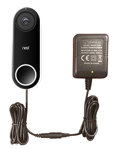 OhmKat Video Doorbell Power Supply- Compatible with Nest Hello - 230V Type-C EU Plug - No Existing Wiring Required - Transformer, Adapter, Power Kit & Supply All In One (Black)