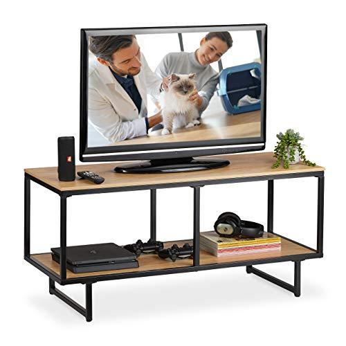 Relaxdays TV Lowboard Industrial, Holzoptik, Metallgestell, TV Board mit Ablage, HBT: 50,5 x 110,5 x 45,5 cm, hellbraun