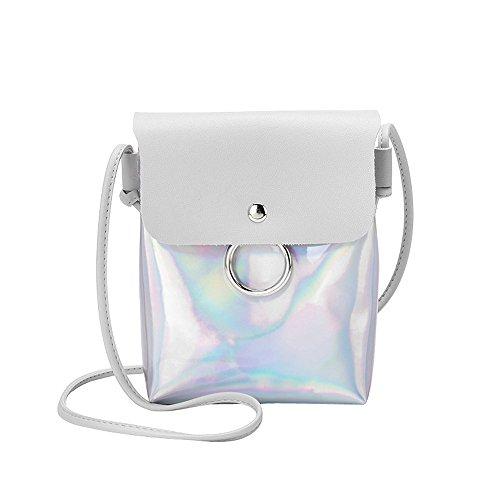 Zolimx Portable diagonal kleine quadratische Tasche Umhängetasche Handtasche, Frauen Mode Laser Cover Ring Haspe Umhängetasche Schultertasche Münztelefon Tasche (Grau)