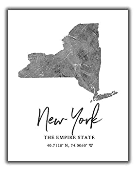 New York State Map Wall Art Print - 8x10 Silhouette Decor Print with Coordinates Makes a Great Empire State-Themed Gift Shades of Grey Black & White.