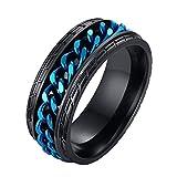 HIJONES Moda Neumático Modelo Rotativo Cadena Anillo para Hombre Adolescente Niños Acero Inoxidable Azul Talla 17