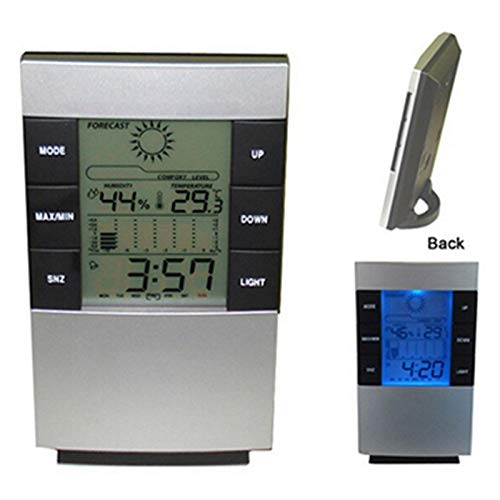 Tralntion LED Backlight Weather Station Digital Wireless Thermometer Hygrometer in/Outdoor Clock Temperature Humidity Meter