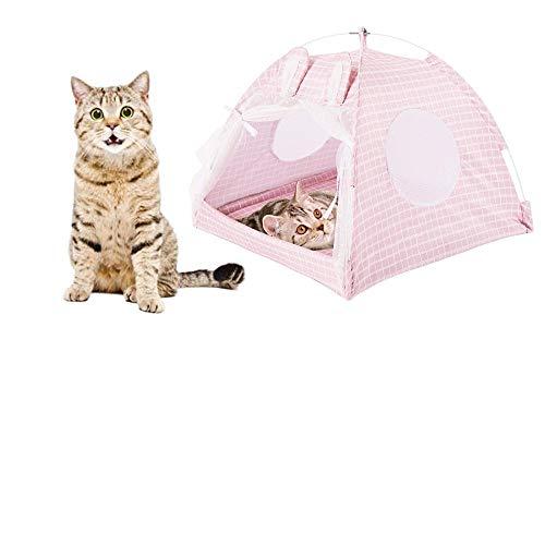 Sfit - Tienda de campaña para mascotas de verano, cesta para mascotas, cojín para gatos, cama de dormir, extraíble lavable, nido para cachorro, portátil (rosa,L)