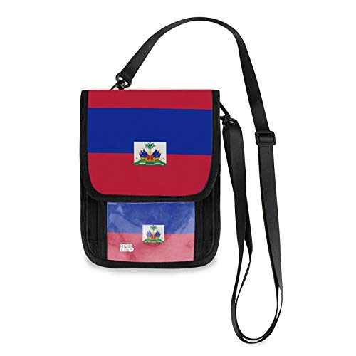 Bandera de Haití RFID bloqueo pequeñas Crossbody bolsas de teléfono celular monedero con ranuras para tarjetas de crédito